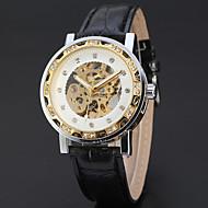 저렴한 -WINNER 남성용 드레스 시계 손목 시계 기계식 시계 오토메틱 셀프-윈딩 중공 판화 가죽 밴드 사치 빈티지 캐쥬얼 멋진 블랙