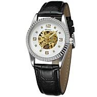 abordables Relojes Mecánicos-WINNER Mujer El reloj mecánico Reloj de Pulsera Reloj de Vestir Cuerda Automática Huecograbado Piel Banda Lujo Vintage Casual Negro