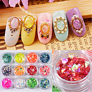 12 color  Shell Paper Dazzle Colour Shell Powder Soft Money Shell Cellophane Irregular Suits 1g/box