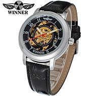 abordables Relojes Mecánicos-WINNER Mujer Reloj de Pulsera / El reloj mecánico Huecograbado Piel Banda Casual / Elegante Negro / Cuerda Automática