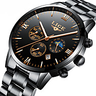 cheap Dress Watches-Men's Mechanical Watch Japanese Calendar / date / day / Chronograph / Water Resistant / Water Proof Stainless Steel Band Luxury / Elegant / Christmas Black / Silver / Moon Phase
