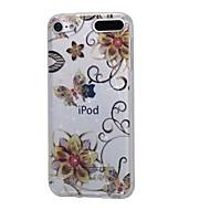 お買い得  iPod 用ケース/カバー-ケースアップルipod touch5 / 6ケースカバーハイ浸透パウダーimdゴールデンフラワーバタフライソフトtpuの電話ケース