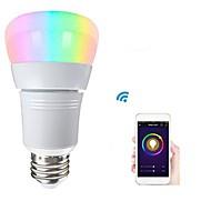 billige LED-smartpærer-1pc 8W 500lm E26 / E27 Smart LED-lampe 22 LED Perler SMD 2835 Fungerer med Amazon Alexa / APP kontrol / Google Startside RGBW 85-265V