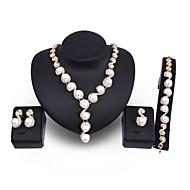 preiswerte -Damen Schmuckset Schmuck mit Aussage überdimensional Hochzeit Party Künstliche Perle vergoldet Aleación Kreisform 1 Halskette 1 Armreif 1