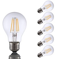abordables Lámparas LED de Filamentos-GMY® 6pcs 4W 350lm E26 Bombillas de Filamento LED A60(A19) 4 Cuentas LED COB Regulable Luz LED Blanco Cálido 110-130V