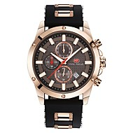 cheap Dress Watches-Men's Sport Watch Japanese Calendar / date / day / Chronograph / Water Resistant / Water Proof Genuine Leather Band Luxury / Casual / Fashion Black / Blue / Brown / Stainless Steel / Noctilucent