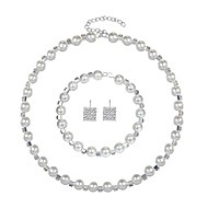 cheap -Women's Cubic Zirconia Jewelry Set Imitation Pearl, Zircon, Silver Plated Ladies, Elegant Include White For Wedding Evening Party / Earrings