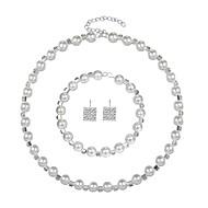 billige -Dame Kvadratisk Zirconium Smykkesæt Imiteret Perle, Zirkonium, Sølvbelagt Damer, Elegant Omfatte Hvid Til Bryllup Aftenselskab / Øreringe