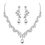 cheap -Women's Cubic Zirconia Jewelry Set Zircon, Silver Plated Leaf, Flower Elegant Include Silver For Wedding Evening Party / Earrings