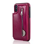 Недорогие Кейсы для iPhone 8-Кейс для Назначение Apple iPhone X iPhone 8 Plus Бумажник для карт со стендом Кейс на заднюю панель Сплошной цвет Твердый Настоящая кожа