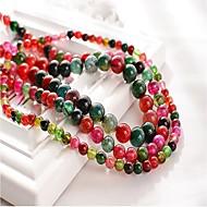 お買い得  -DIYジュエリー 48 個 ビーズ 合成宝石類 レインボー 円形 ビーズ 1 cm DIY ネックレス ブレスレット