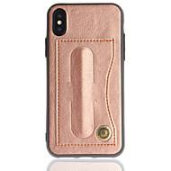 Недорогие Кейсы для iPhone 8 Plus-Кейс для Назначение Apple iPhone X iPhone 8 Бумажник для карт со стендом Задняя крышка Сплошной цвет Твердый Искусственная кожа для