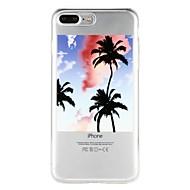 Недорогие Кейсы для iPhone 8 Plus-Кейс для Назначение Apple iPhone 6 iPhone 7 Полупрозрачный С узором Рельефный Кейс на заднюю панель Пейзаж дерево Мягкий ТПУ для iPhone X