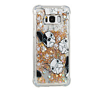 billige Etuier / covers til Galaxy S-modellerne-Etui Til Samsung Galaxy S8 Plus S8 Flydende væske Mønster Bagcover Hund Glitterskin Blødt TPU for S8 Plus S8