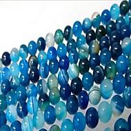 お買い得  -DIYジュエリー 46 個 ビーズ メノウ ブルー 円形 ビーズ 0.8 cm DIY ネックレス ブレスレット