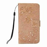 billiga iPhone 8 Plus och Plus-fodral-fodral Till Apple iPhone X iPhone 8 Plus Korthållare Plånbok Strass med stativ Lucka Mönster Läderplastik Fodral Fjäril Hårt PU läder för