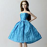 48be5ee5f64f billige Barbietøj-Kjoler Kjole Til Barbiedoll Blå Polyester   Bomuld Kjole  Til Pigens Dukke Legetøj