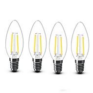 billige LED-stearinlyspærer-4stk 2W 200lm E14 LED-stearinlyspærer C35 2 LED Perler COB Dekorativ Varm hvid 220-240V