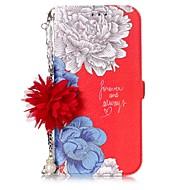 Недорогие Чехлы и кейсы для Galaxy A5(2017)-Кейс для Назначение SSamsung Galaxy A5(2017) A3(2017) Бумажник для карт со стендом Флип С узором Своими руками Чехол Цветы Твердый Кожа PU