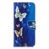 Недорогие Чехлы и кейсы для Galaxy S7-Кейс для Назначение SSamsung Galaxy S9 Plus S9 Кошелек Бумажник для карт со стендом Флип С узором Чехол Бабочка Твердый Искусственная кожа