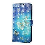 お買い得  携帯電話ケース-ケース 用途 Huawei P9ライトミニ カードホルダー ウォレット スタンド付き フリップ 磁石バックル パターン フルボディーケース バタフライ ハード PUレザー のために P9 lite mini Huawei