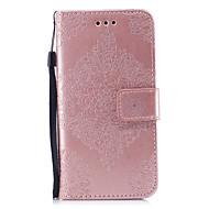 Недорогие Кейсы для iPhone 8 Plus-Кейс для Назначение Apple iPhone X iPhone 8 Бумажник для карт Кошелек со стендом Рельефный С узором Чехол Сплошной цвет Мандала Твердый