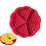 お買い得  キッチン用小物-5キャビティハートフラワーワッフルメーカーシリコーンケーキ金型マフィン調理ツール