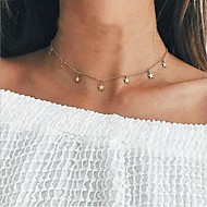 Women's Floating Choker Necklace Star Ladies Simple European Fashion Gold Silver Necklace Jewelry For Daily