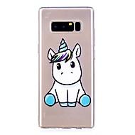 Недорогие Чехлы и кейсы для Galaxy Note-Кейс для Назначение SSamsung Galaxy Note 8 Полупрозрачный С узором Кейс на заднюю панель единорогом Мягкий ТПУ для Note 8