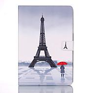 Недорогие Чехлы и кейсы для Samsung Tab-Кейс для Назначение SSamsung Galaxy Tab A 9.7 Кошелек / Бумажник для карт / со стендом Чехол Эйфелева башня Твердый Кожа PU для