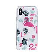 Недорогие Кейсы для iPhone-Кейс для Назначение Apple iPhone X iPhone 8 Plus IMD С узором Сияние и блеск Кейс на заднюю панель Фламинго Мягкий ТПУ для iPhone X