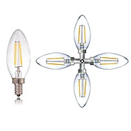 abordables Lámparas LED de Filamentos-5pcs 2W 180LM lm E14 Bombillas de Filamento LED C35 2 leds COB Regulable Decorativa Luz LED Blanco Cálido Blanco Fresco AC 220-240V