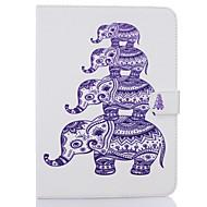 Недорогие Чехлы и кейсы для Galaxy Tab E 9.6-Кейс для Назначение Samsung Бумажник для карт Кошелек со стендом С узором Авто Режим сна / Пробуждение Чехол Слон Твердый Кожа PU для Tab