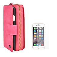 Недорогие Кейсы для iPhone 8 Plus-Кейс для Назначение Apple iPhone 8 iPhone 6 Бумажник для карт Кошелек Флип Магнитный Сплошной цвет Твердый Кожа PU для iPhone 8 Pluss