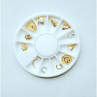12 Nail Jewelry Simple Classic Style Cute Simple Shimmer Metal / Plating / Dry flower Rhinestone Style Nail Art Design