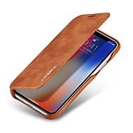 Недорогие Кейсы для iPhone 8-Кейс для Назначение Apple iPhone X Бумажник для карт Защита от удара Флип Чехол Сплошной цвет Твердый Настоящая кожа для iPhone X iPhone