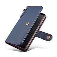 Недорогие Чехлы и кейсы для Galaxy S7-Кейс для Назначение SSamsung Galaxy S9 Plus / S9 Кошелек / Бумажник для карт / со стендом Чехол Сплошной цвет Твердый Настоящая кожа для S9 / S9 Plus / S8 Plus