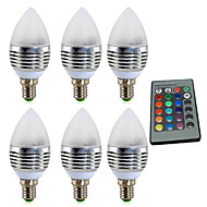 abordables Luces LED en Vela-YWXLIGHT® 6pcs 4W 300-400lm E14 Luces LED en Vela 1 Cuentas LED LED de Alta Potencia Regulable Decorativa Control Remoto RGB