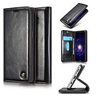 Недорогие Чехлы и кейсы для Galaxy S7-Кейс для Назначение SSamsung Galaxy S9 S9 Plus Бумажник для карт Кошелек Защита от удара Флип Чехол Сплошной цвет Твердый Настоящая кожа