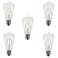 cheap LED Filament Bulbs-5pcs 2W 180 lm E26/E27 LED Filament Bulbs ST64 2 leds COB Decorative Warm White Cold White 220-240V