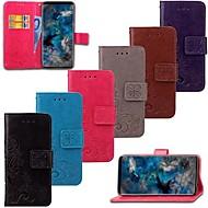 Недорогие Чехлы и кейсы для Galaxy S7 Edge-Кейс для Назначение SSamsung Galaxy S9 S9 Plus Бумажник для карт Кошелек Флип Чехол Цветы Твердый Настоящая кожа для S9 Plus S9 S8 Plus