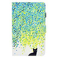 Недорогие Чехлы и кейсы для Samsung Tab-Кейс для Назначение SSamsung Galaxy Tab A 8.0 (2017) Бумажник для карт со стендом Флип С узором Авто Режим сна / Пробуждение Чехол Кот