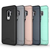 Недорогие Чехлы и кейсы для Galaxy S9-Кейс для Назначение SSamsung Galaxy S9 S9 Plus Бумажник для карт со стендом броня Кейс на заднюю панель Сплошной цвет броня Твердый ПК для