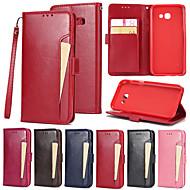 Недорогие Чехлы и кейсы для Galaxy A7(2017)-Кейс для Назначение SSamsung Galaxy A7(2017) Бумажник для карт Кошелек со стендом Флип Чехол Сплошной цвет Твердый Кожа PU для A7 (2017)