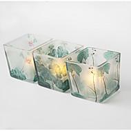 abordables Home Fragrances-Estilo Simple / Paisaje Vidrio Candelabros 3pcs, Candelero / candelero