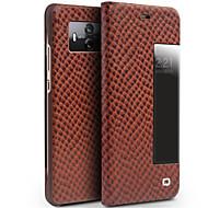お買い得  携帯電話ケース-ケース 用途 Huawei Mate 10 pro Mate 10 耐衝撃 ウィンドウ付き フリップ フルボディーケース 純色 ハード 本革 のために Mate 10