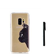 Недорогие Чехлы и кейсы для Galaxy S9 Plus-Кейс для Назначение SSamsung Galaxy S9 Plus / S9 Полупрозрачный Кейс на заднюю панель Кот / Животное Мягкий ТПУ для S9 / S9 Plus / S8 Plus