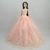 cheap Dolls & Stuffed Toys-Dresses Dresses For Barbie Doll Pink Satin / Tulle / Poly / Cotton Dress For Girl's Doll Toy