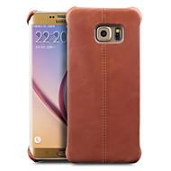 Недорогие Чехлы и кейсы для Galaxy S-Кейс для Назначение SSamsung Galaxy S8 S7 edge Защита от удара Кейс на заднюю панель Сплошной цвет Твердый Настоящая кожа для S6 edge