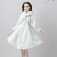 economico Giocattoli e Giochi-Cappottini Cappotto Per Bambola Barbie Bianco Flanella Vello Cappotto Per Ragazza Bambola giocattolo